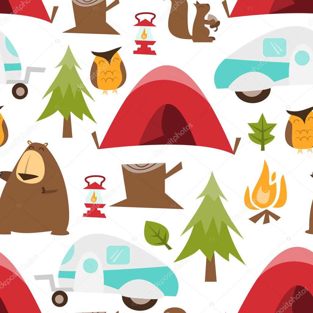 A Cartoon Vector Illustration Seamless Pattern Background Of Retro Happy Camper Or Camping Theme By Totallyjamie