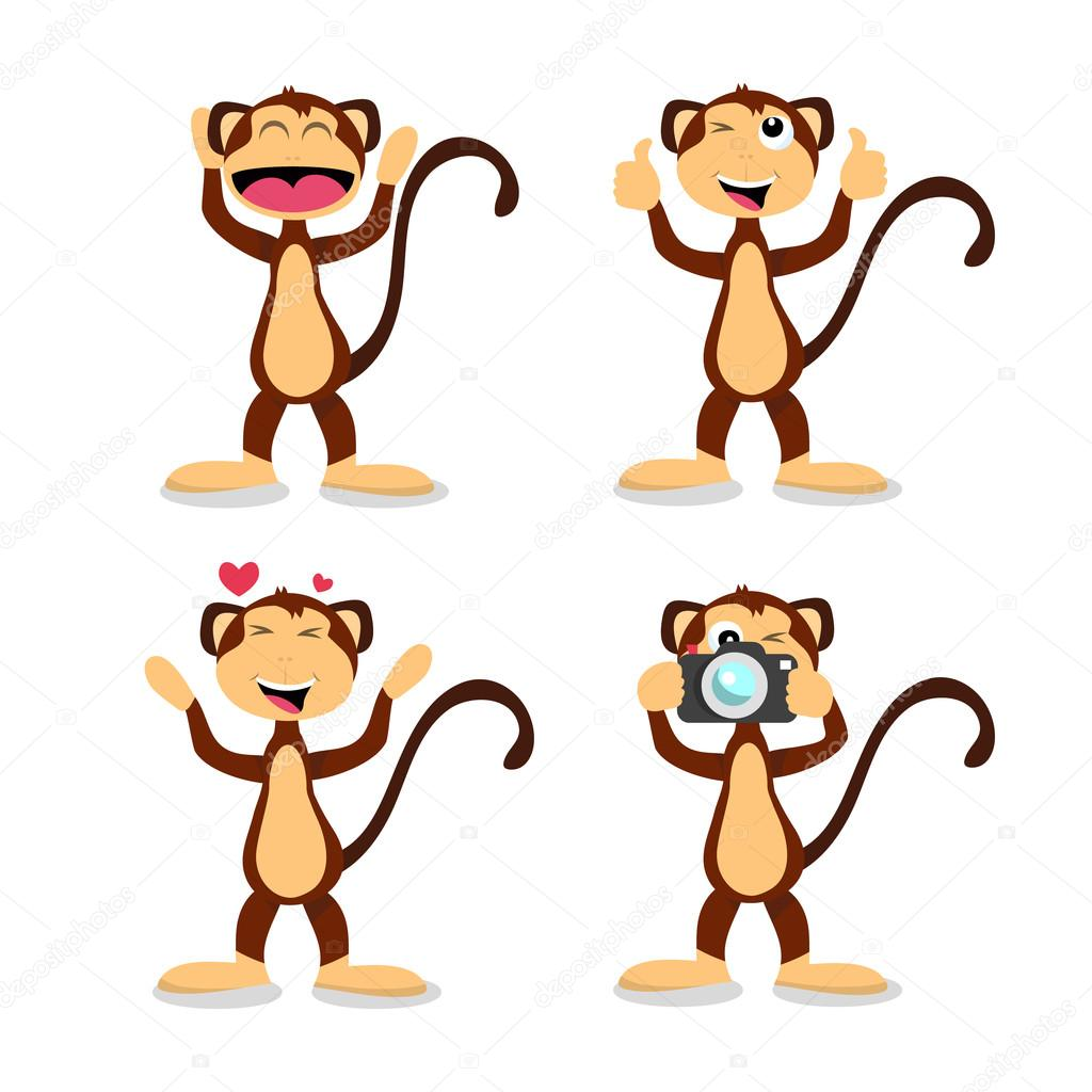 Cartoon Monkey in Different Positive Emotions