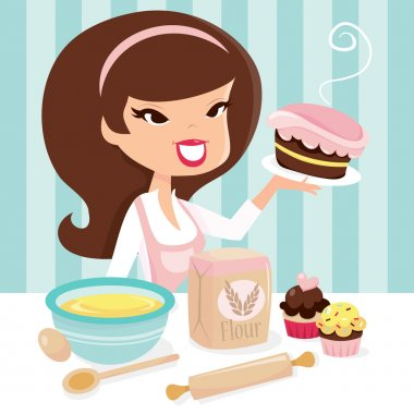Retro Girl Baking