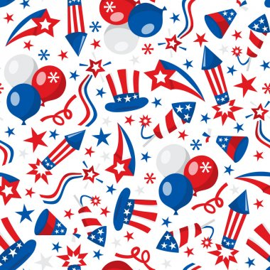 American Patriotic Seamless Pattern Background