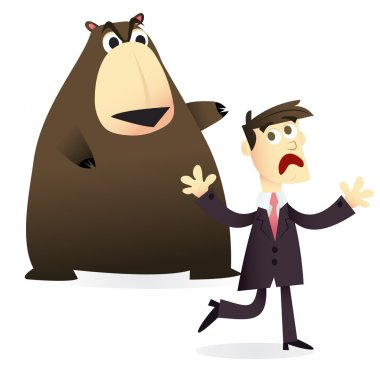 Cartoon Business Man Afraid of Bear Market