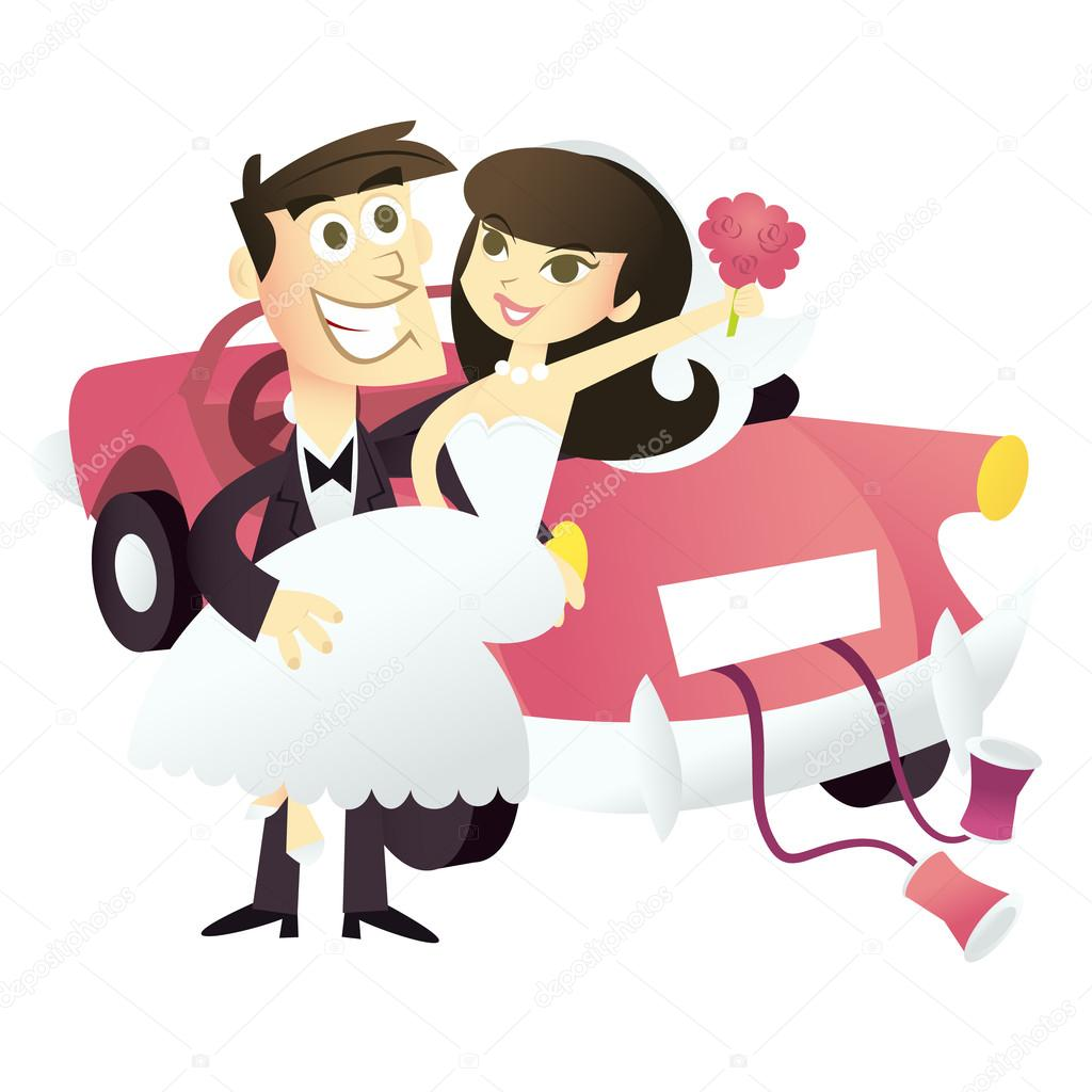 Cartoon Just Married Wedding Couple