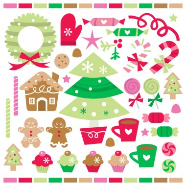 A vector illustration set of retro whimsical christmas treats, sweets and decorations. stock vector