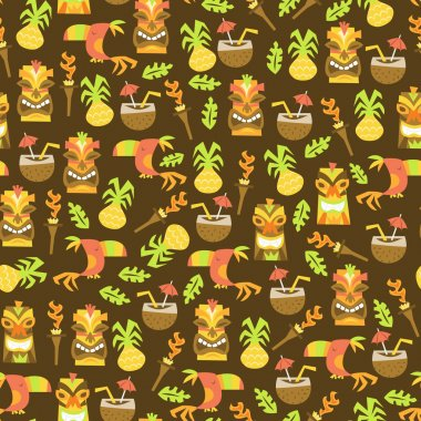 Tiki Luau Seamless Pattern Background