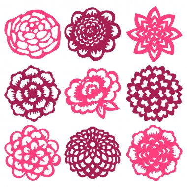 A vector illustration set of nine different flower in paper cut out style. stock vector