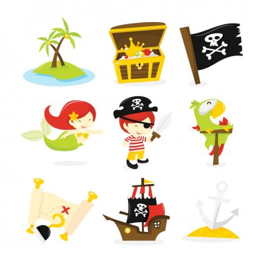 Pirate Treasure Island Icon Set