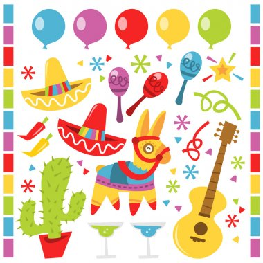 Retro Mexican fiesta party design elements