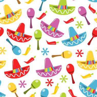Mexican Fiesta Seamless Pattern Background