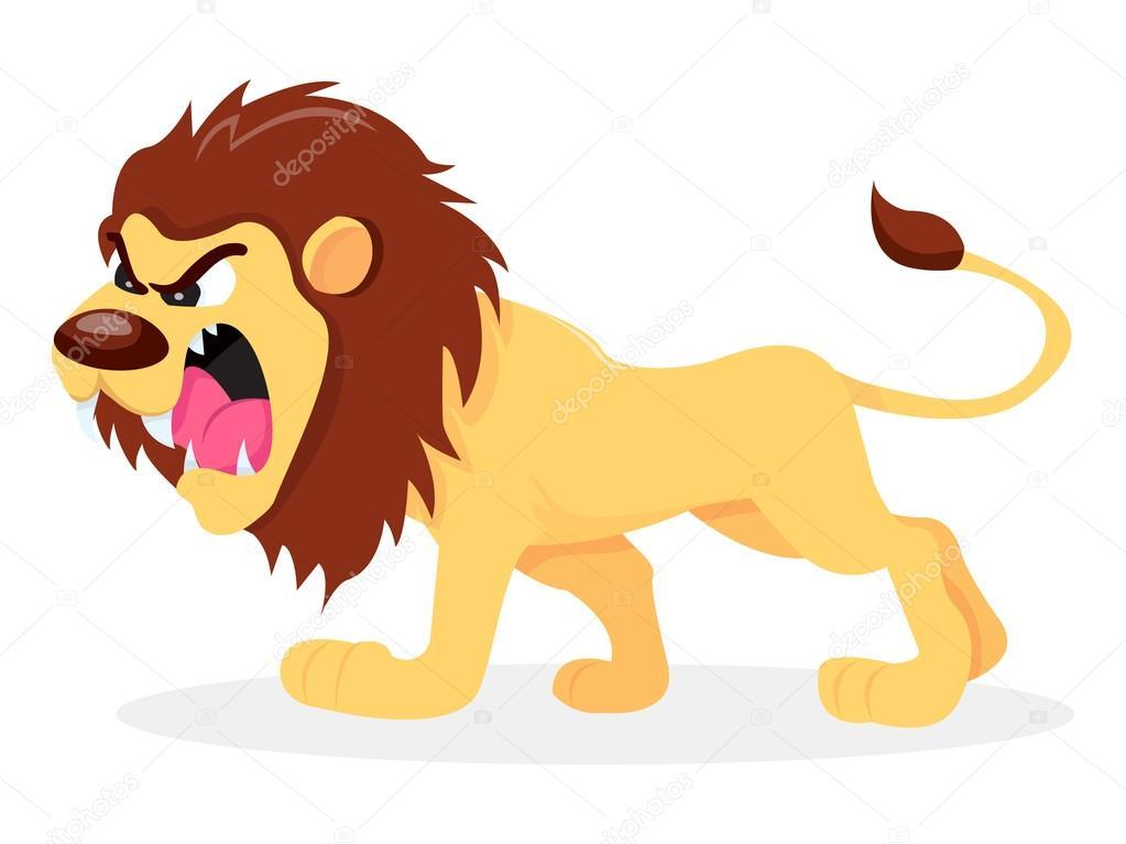 Cartoon fierce lion | Fierce Cartoon Lion — Stock Vector