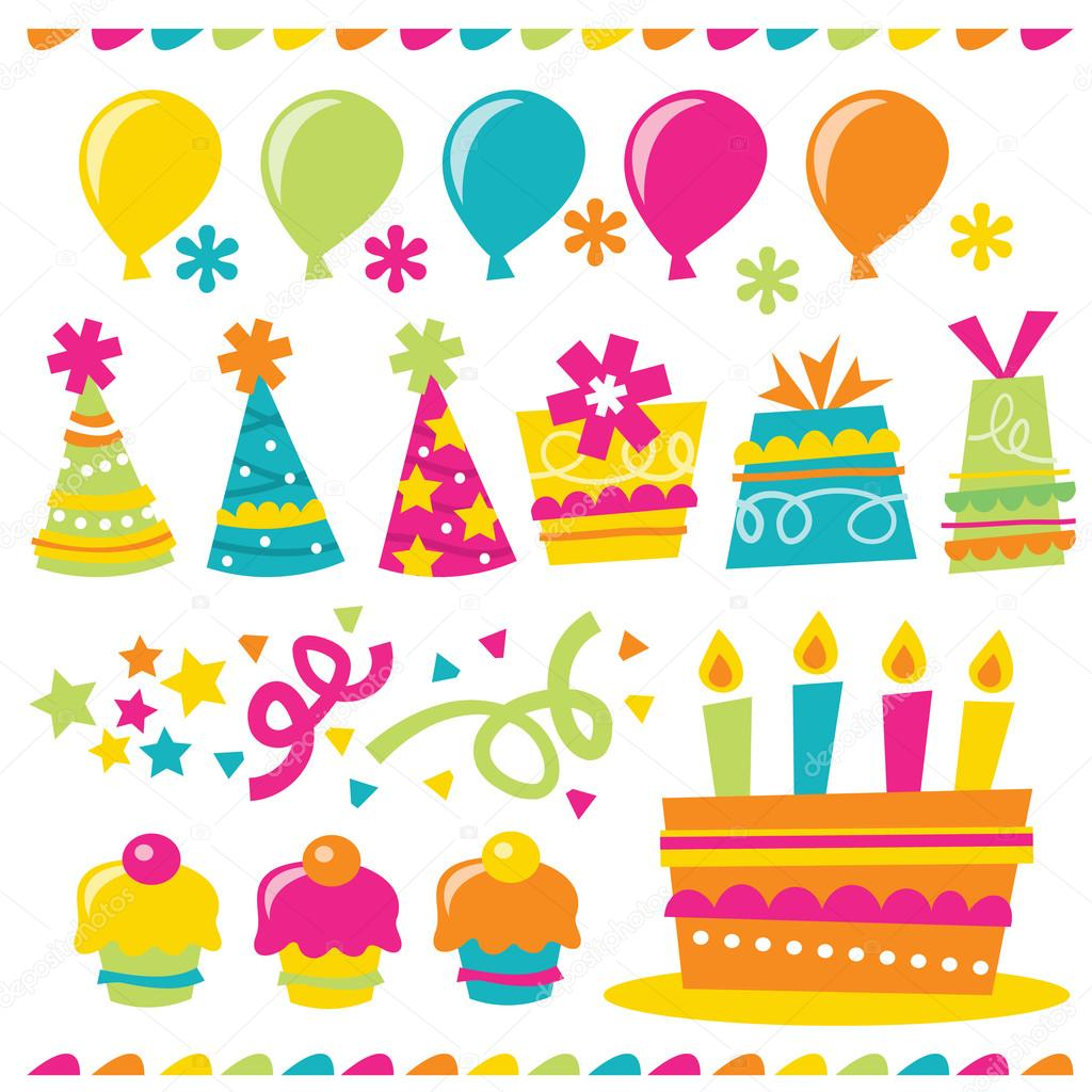 A Vector Illustration Of Happy And Whimsical Birthday Party Related Design Elements
