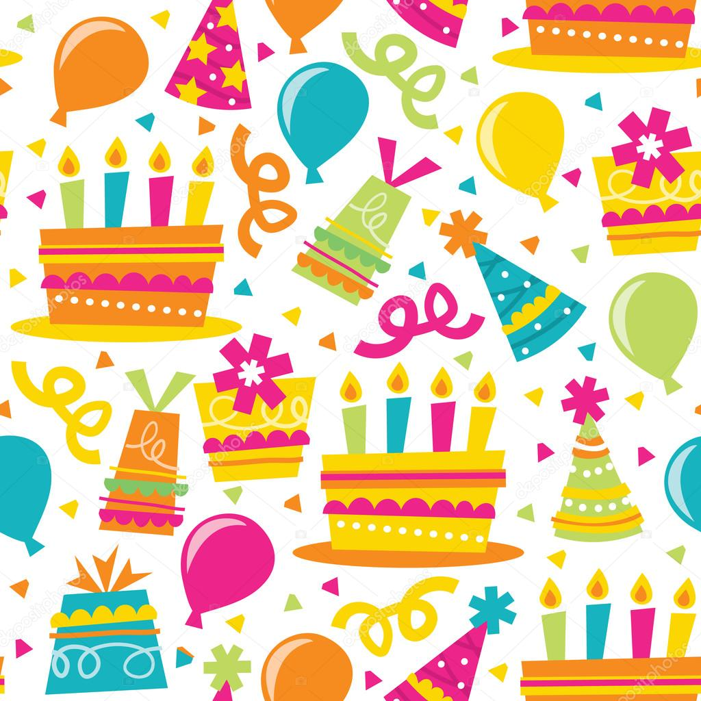 A vector illustration seamless pattern of a colorful retro birthday party  theme    Vector by totallyjamie. Retro Birthday Party Seamless Pattern Background   Stock Vector