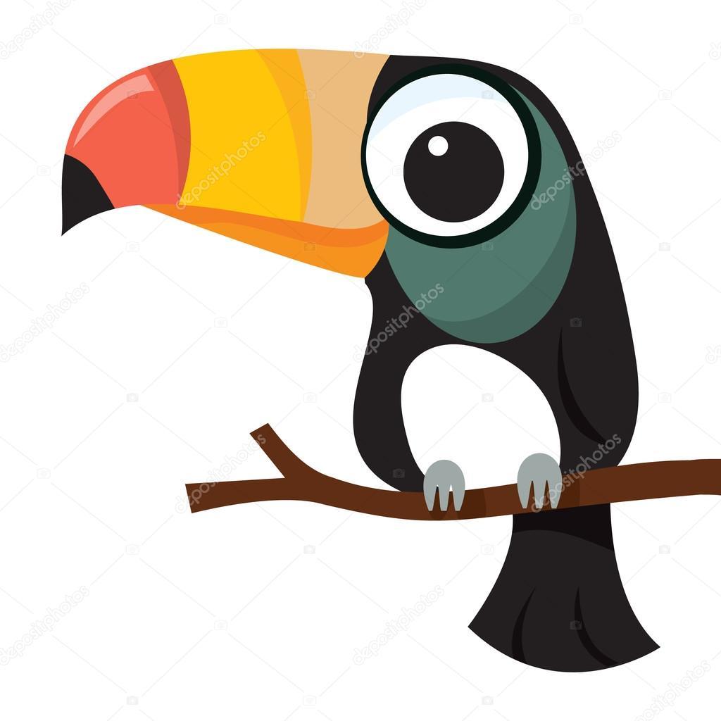 Pequeño personaje de dibujos animados lindo tucán — Archivo Imágenes ...