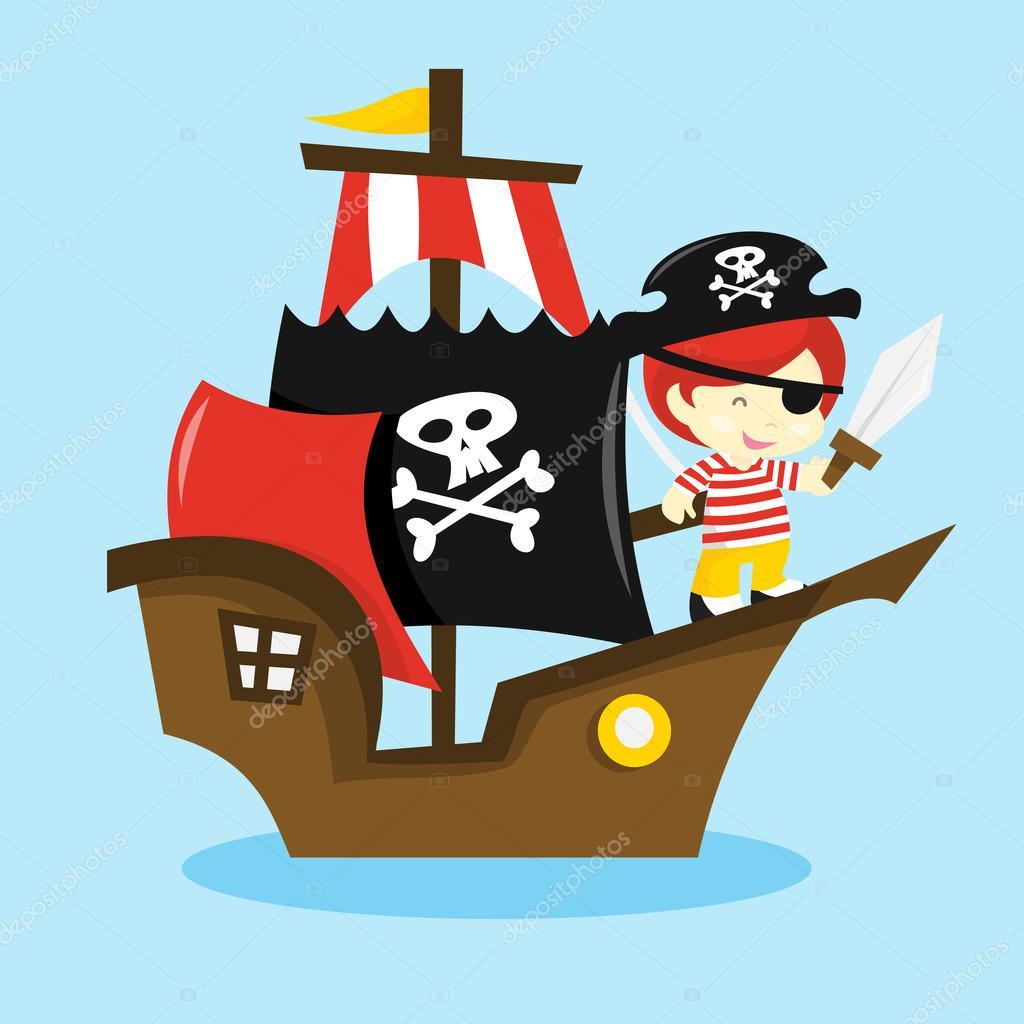 dessin anim233 bateau de pirate enfant � image vectorielle
