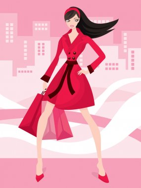 A cute fashionable shopaholic vector stock illustration. stock vector