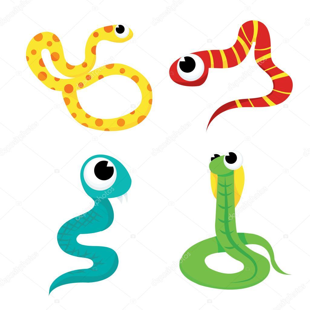 Serpientes De Colores Dibujos Animados Archivo Imágenes