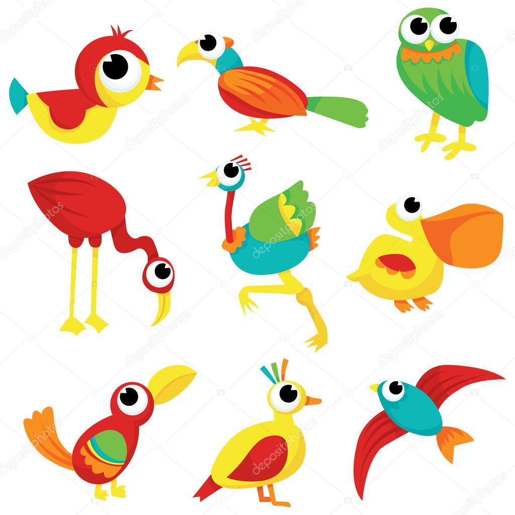bandada de aves de dibujos animados — Archivo Imágenes Vectoriales ...