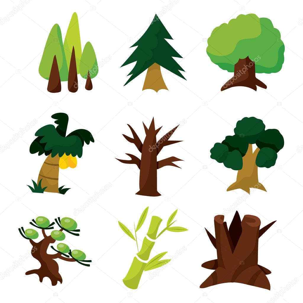 cartoon tree set stock vector totallyjamie 73540167 rh depositphotos com vector trees free vector trees illustrator