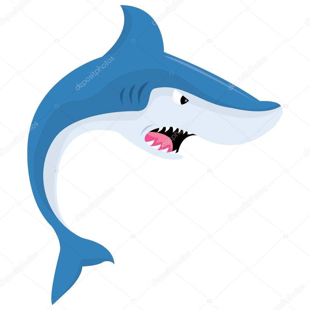 cartoon mean shark u2014 stock vector totallyjamie 73544269