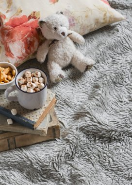 hot chocolate with marshmallows, Teddy bear, books, pillow and blanket.