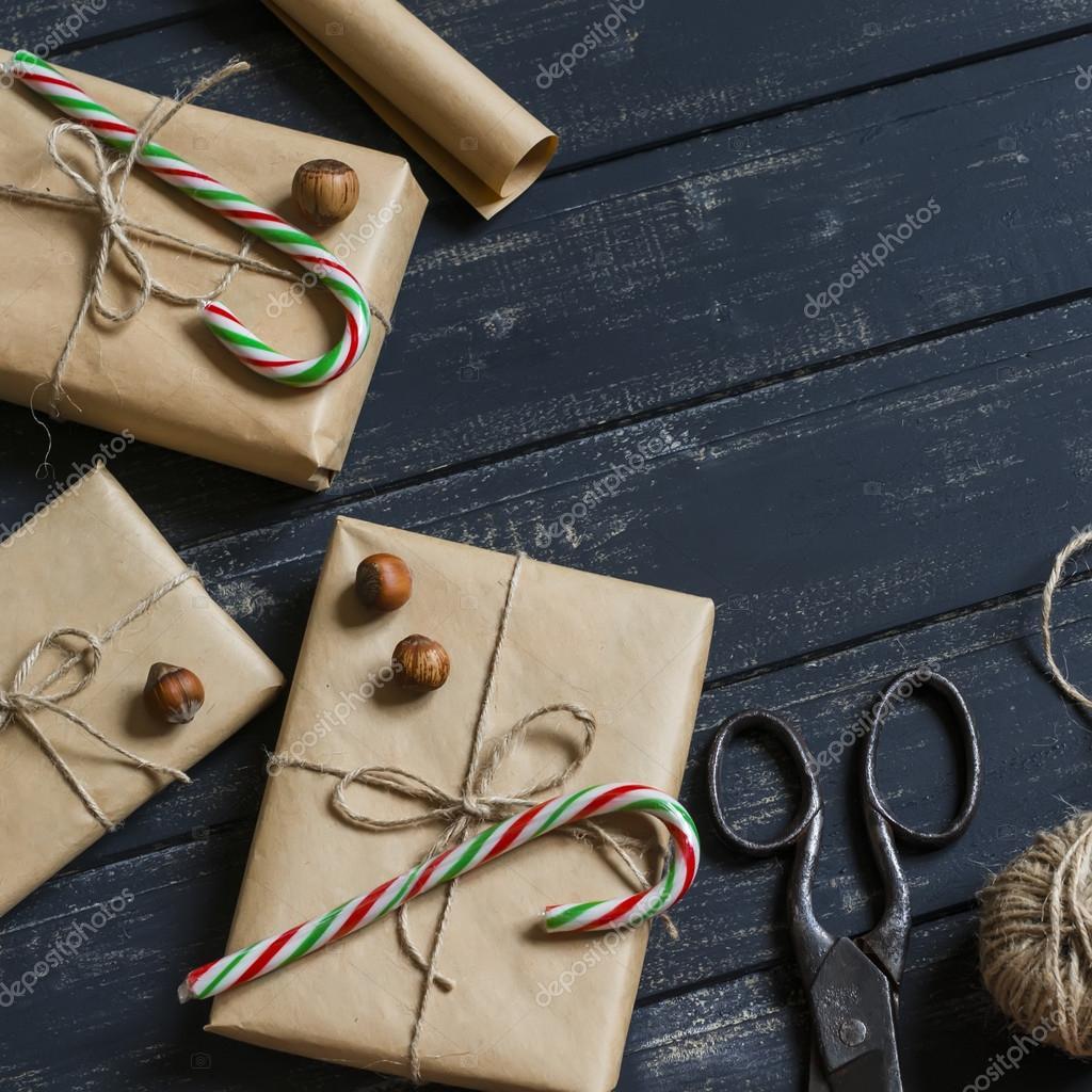 Selbstgemachte Weihnachtsgeschenke, Süßigkeiten, Nüsse, Jahrgang ...