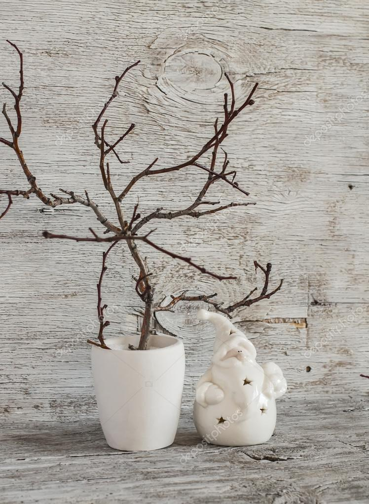 Christmas Decorations Home Interior Dry Branches In A White Vase