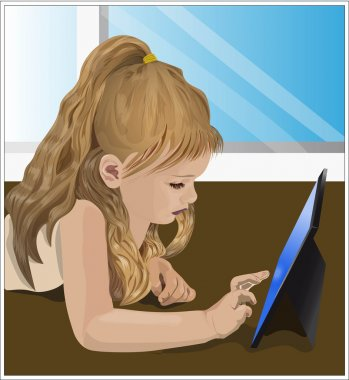 girl playing video game on the tablet