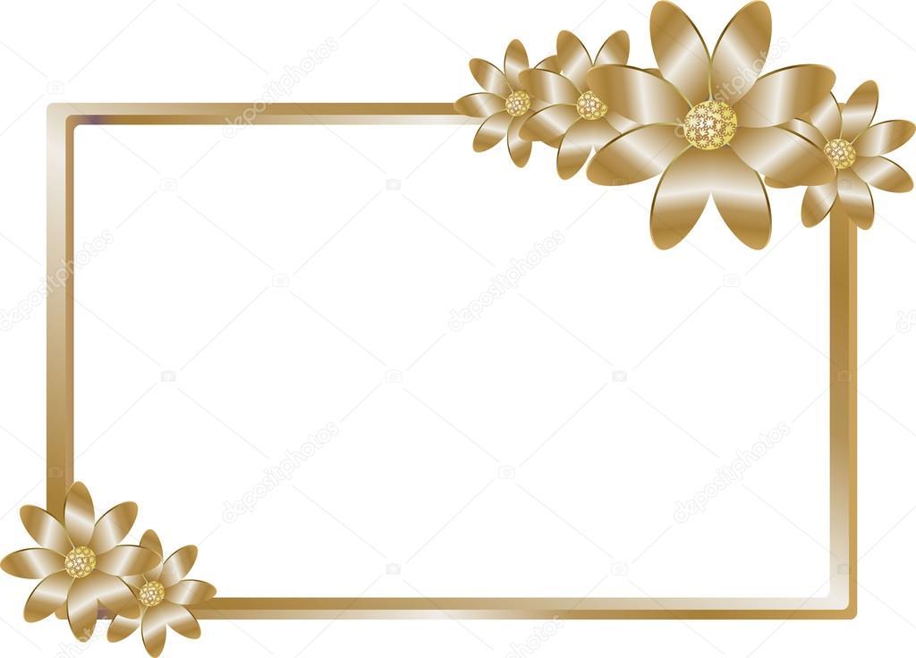 Marco Dorado Con Flores De Color