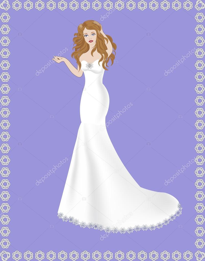 Sirena Vestido de novia — Vector de stock © Lollitta #81593632