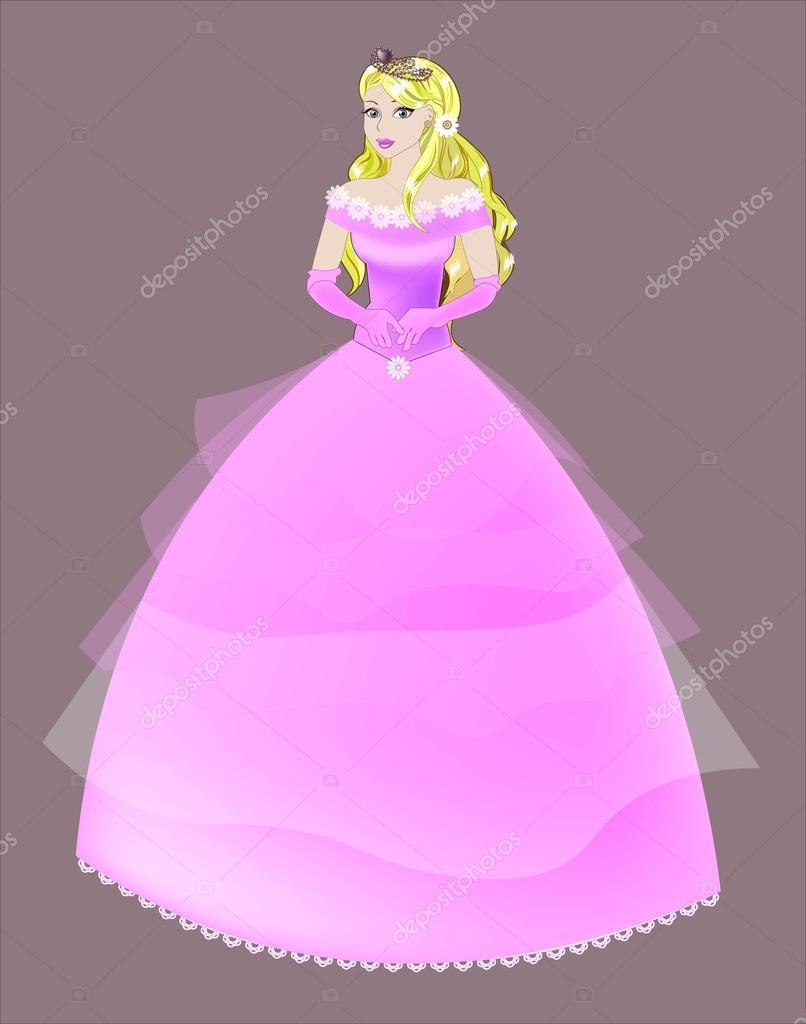 la rubia en un vestido rosa de princesa — Vector de stock © Lollitta ...