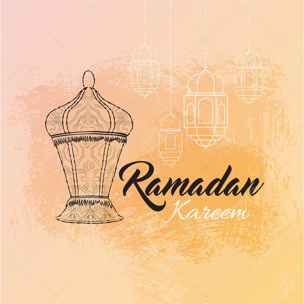 Ramazan Kareem Ve Bayrami Mübarek çizimi Ile Fener Geleneksel