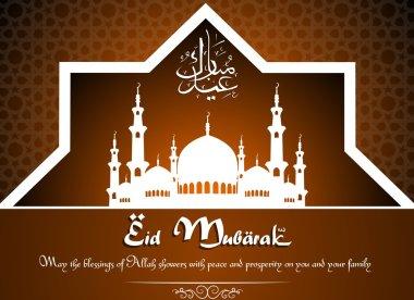 Elegant greeting card with creative beautiful mosque for muslim community festival, Eid Mubarak celebration