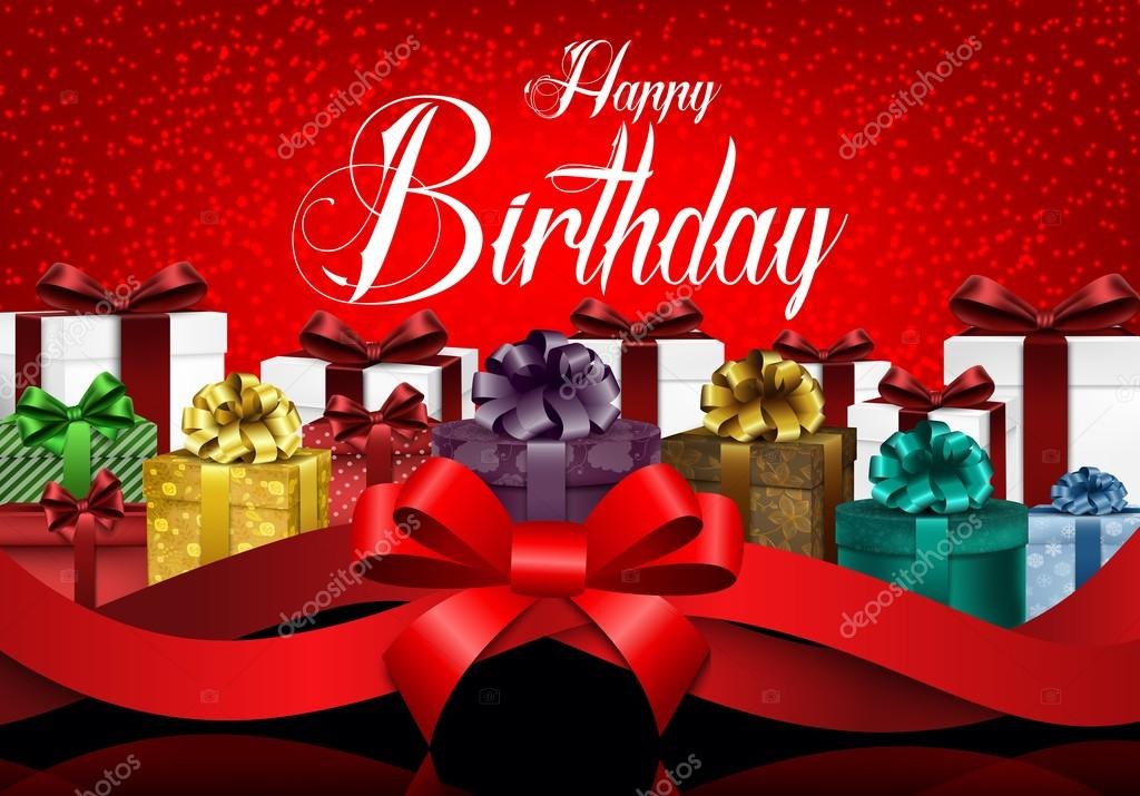Happy Birthday Background With Color Gift Boxes And Realistic Red