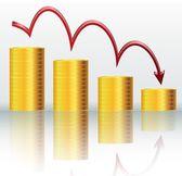 Finanční koncept, klesající graf
