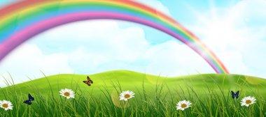 Rainbow and garden background