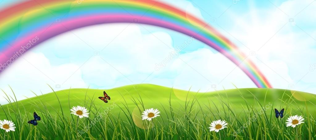 Rainbow and garden background \u2014 Stock Vector © artnovi 84336008