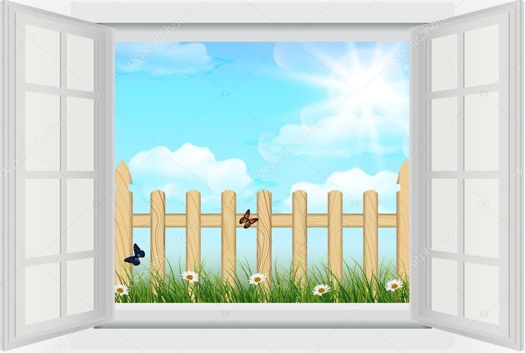 Finestra aperta con primavera sfondo erba e recinzione in for Finestra antica aperta