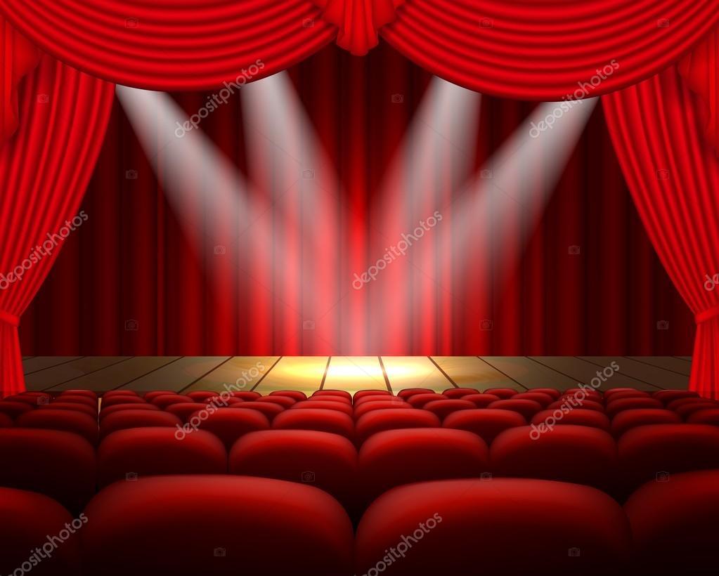 sc ne de th tre avec un rideau rouge et un coup de projecteur image vectorielle artnovi. Black Bedroom Furniture Sets. Home Design Ideas