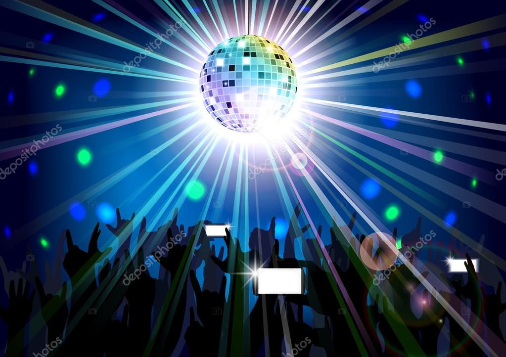 Disco ball of silhouettes background people