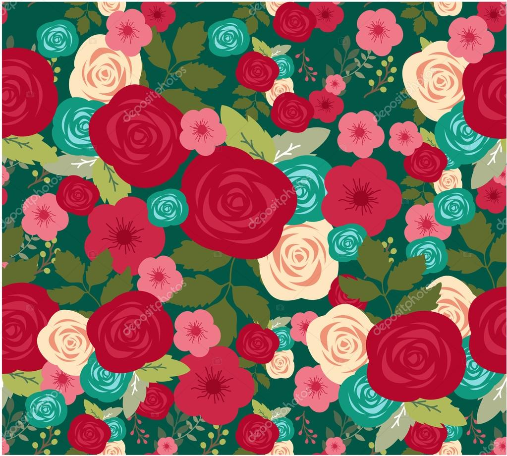 Flower of seamless pattern with red roses background