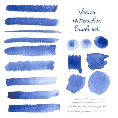 Set of watercolor brush strokes.