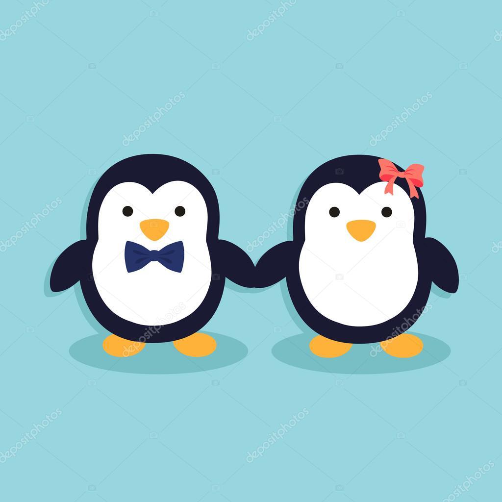 Depositphotos Stock Illustration Cute Penguin Couple Vector Cartoon