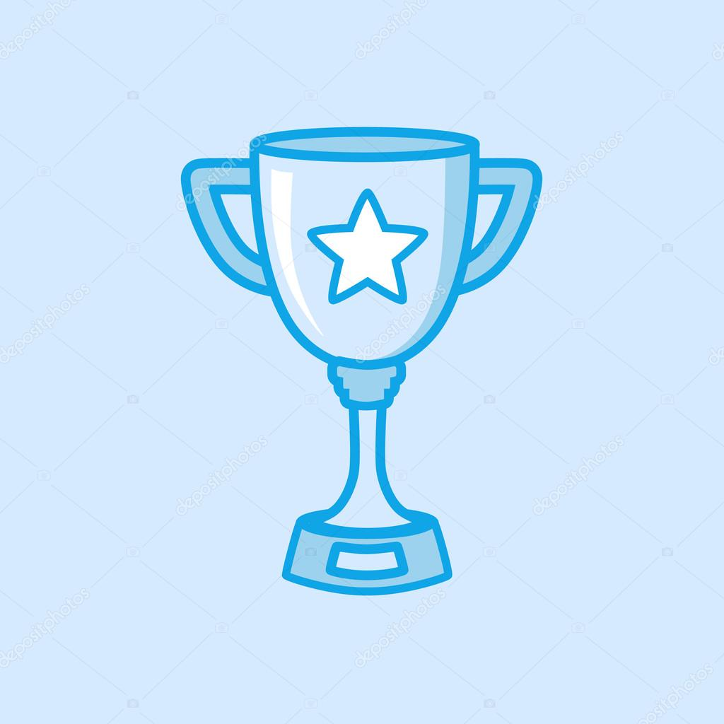 Trophy Vector Icon Simple Blue Stock