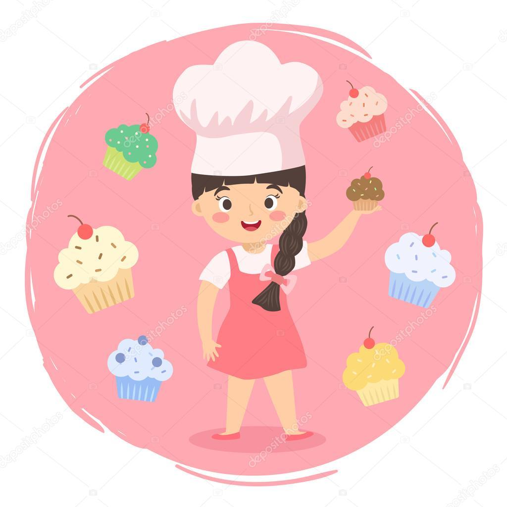 Vector de dibujos animados chef cupcakes ni a vector de - Nina cocinando ...