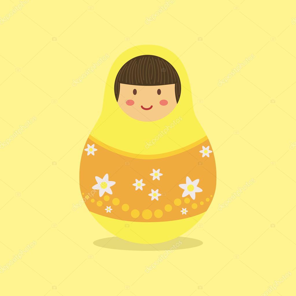 Cute Russian Doll Yellow