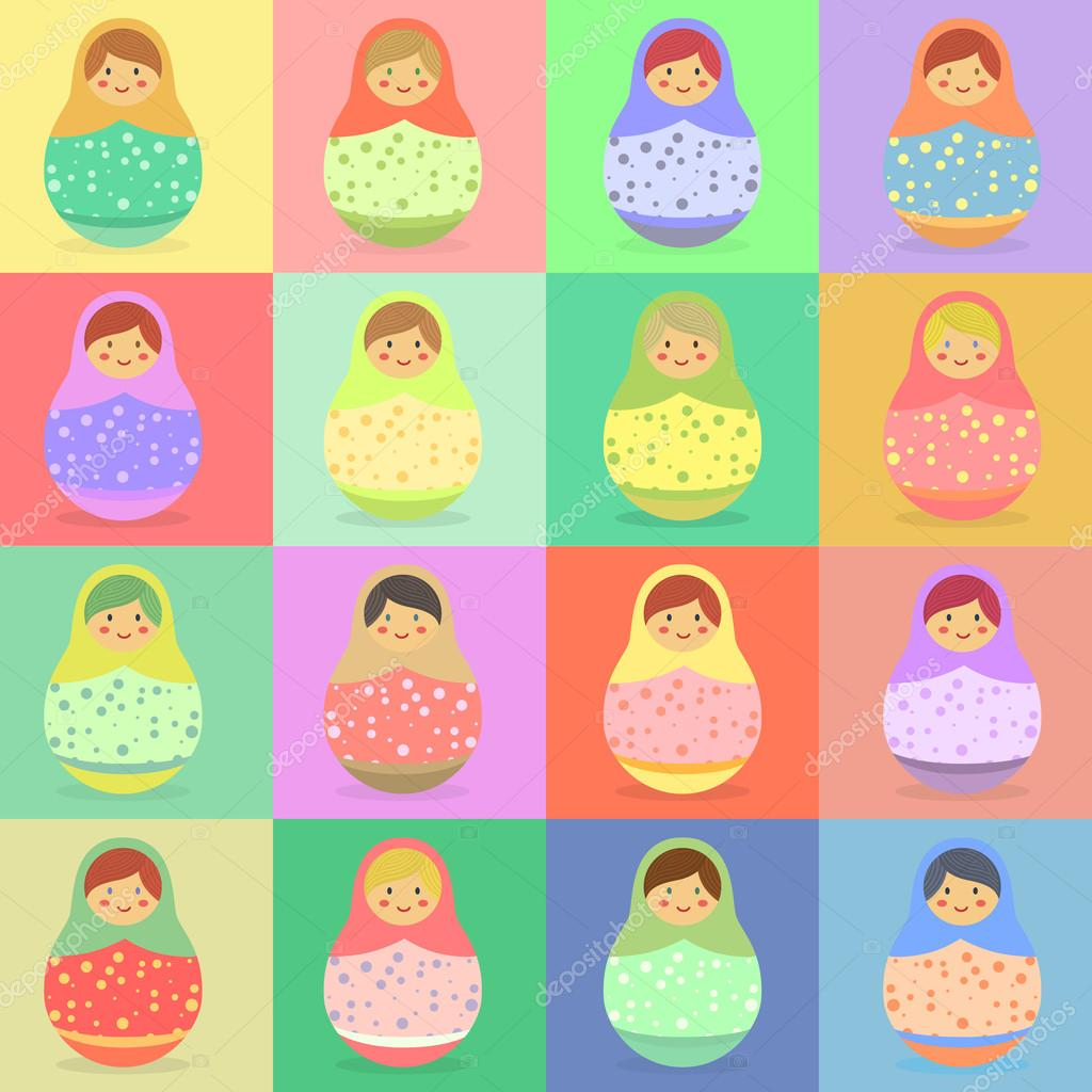 Seamless Pattern Colorful Russian Doll