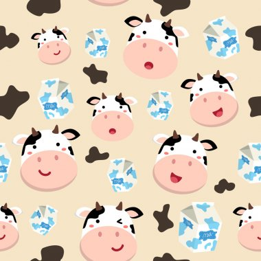 Seamless Pattern Cow and Milk Carton in Spotted Cream Background