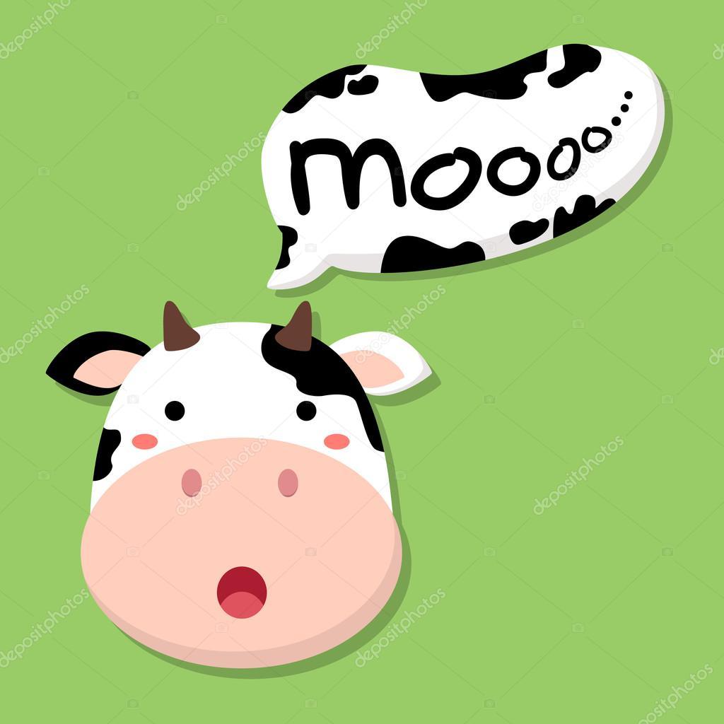 cute cow talking moo stock vector anitnov 80441974