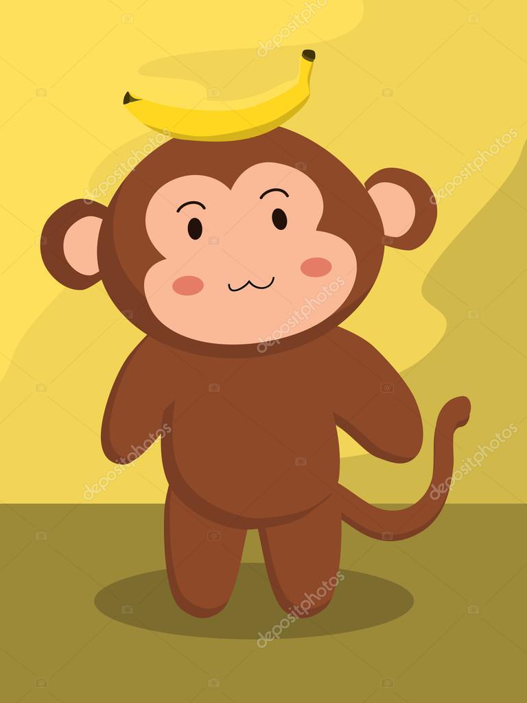 Scimmia con cartone animato banane u2014 vettoriali stock © anitnov