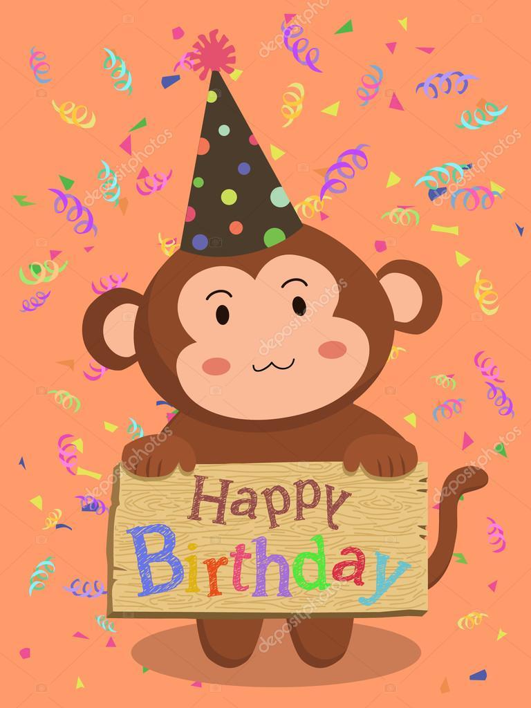 Открытка обезьянка с днем рождения