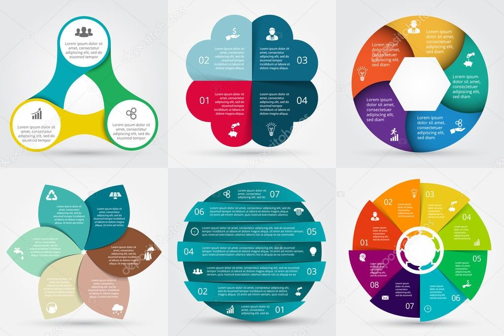 Vector circle elements for infographic.